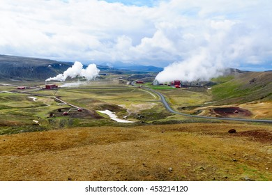 The slopes of the Krafla volcano and a geothermal power station. Near Lake Myvatn, Northeast Iceland