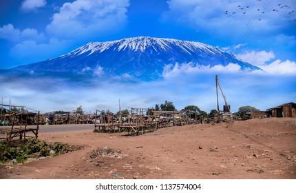 The slopes of Mt Kilimanjaro Tanzania near Amboseli