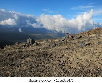 Slopes of Nevado del Tolima volcano in Los Nevados National Park in Colombia