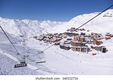 slopes of winter mountains resort Courchevel, Trois Valleys, France