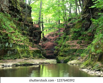 Slot canyon running through Pewits Nest State Natural Area near the Wisconsin Dells