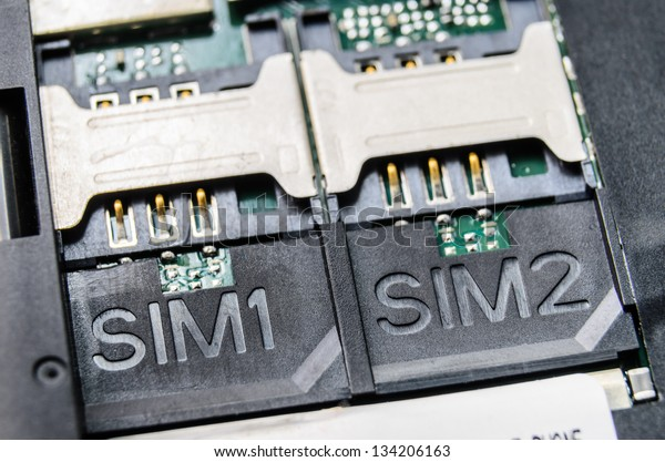 Slot for dual SIM cards. Photo Close-up
