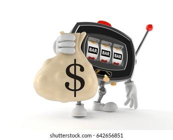 Slot machine character holding money bag isolated on white background. 3d illustration