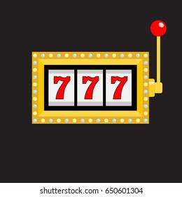 Slot machine. Golden color Glowing lamp light. 777 Jackpot. Lucky sevens. Red handle lever. Big win Online casino, gambling club sign symbol. Flat design. Black background Isolated