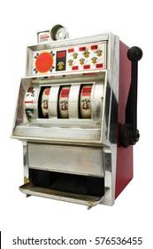 Slot machine on white background  , casino concept idea.