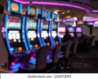 Slot machines, Las Vegas, Nevada. Blurred background. Gambling, Addiction Themed