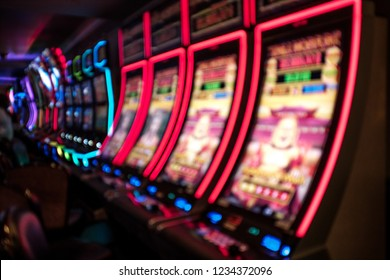 Slot machines, Las Vegas, Nevada. Blurred background. Gambling, Addiction Themed
