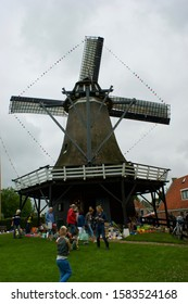 Sloten, The Netherlands - june 24 2017: The decorated corn mill of Sloten during the traditional festival Sipelsneon