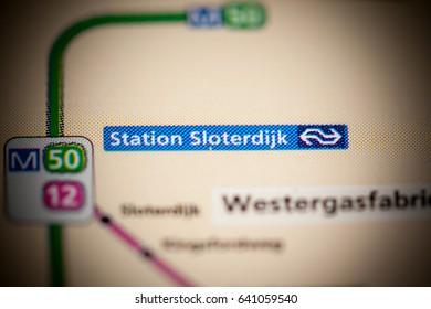 Sloterdijk Station. Amsterdam Metro map.