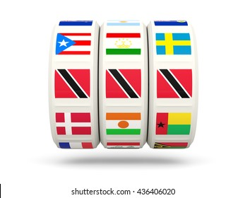 Slots with flag of trinidad and tobago isolated on white. 3D illustration