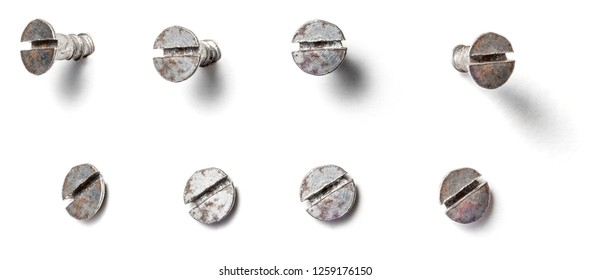 Slotted screw from different perspectives on a white background