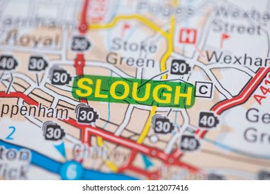 Slough location road map. Great Britain map.