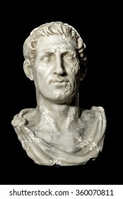 SLOUGH, UK. 27 NOVEMBER 2015: Low Key Photograph of Bust of Emperor Gaius Julius Caesar (13 July 100 BC to 15 March 44 BC) on Black Background.