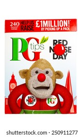 SLOUGH, UK - FEBRUARY 8, 2015: Red Nose Day celebrated on a box of PG Tips Tea Bags, manufactured by Unilever.