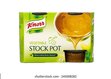 SLOUGH, UK. JANUARY 17, 2014: A Box of Knorr Vegetable Stock Pot Isolated on a White Background. Knorr is a German Food and Beverage Brand Owned by the Anglo-Dutch Company Unilever since 2000
