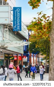 Slough/ UK - September 2018: Slough High Street busy/lively with shoppers. Showcasing Slough's prosperous economy