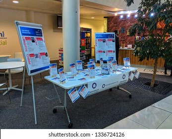 Slough, United Kingdom - 12 March 2019: O2 Slough Head Office about International Women's Day.