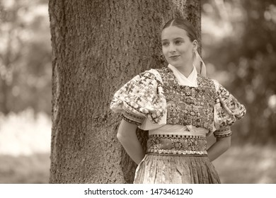 Slovak folklore. Beautiful folk dancer.