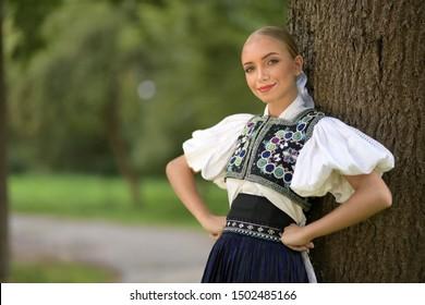 Slovak folklore dancer in traditional folklore costume