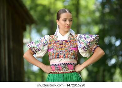 Slovak folklore. Folk dancer girl.