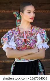 Slovak folklore. Slovakian folk girl.