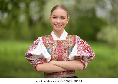Slovak folklore. Slovakian folklore girl.