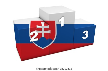 "Slovak olympic top positions podium. 3d rendering for concept "" the best of Slovakia"". Isolated on white."