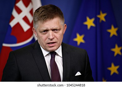 Slovak Prime Minister Robert Fico and EU Commission President Jean-Claude Juncker hold a press conference after their meeting at the EU Commission headquarters in Brussels, Belgium on Jul. 27, 2017.