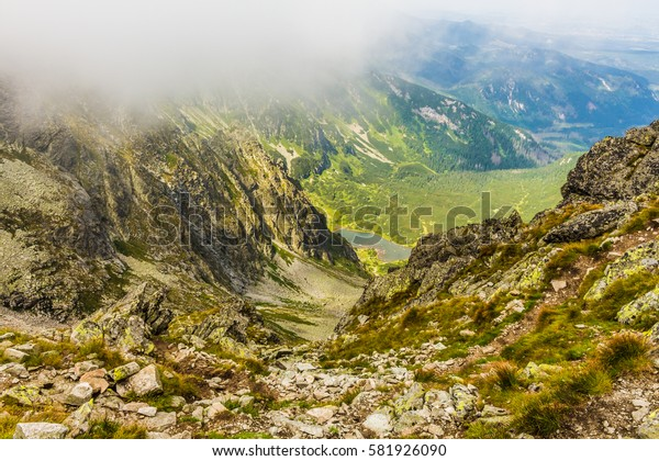 Slovak Tatra mountains. Mountain scenery. Mountains in the fog.
