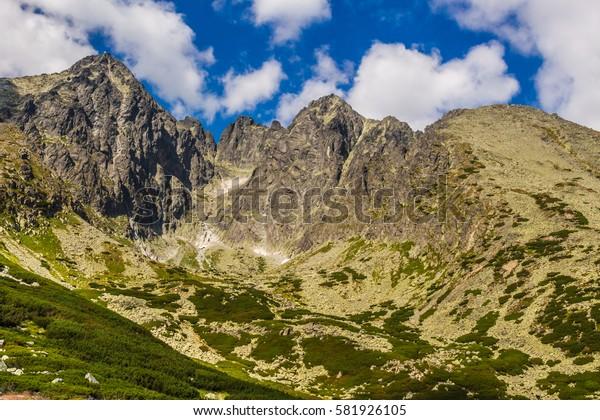 Slovak Tatra mountains. Mountain scenery. Peaks against the sky.