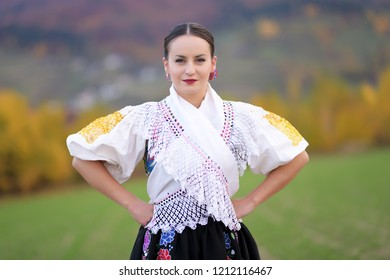 slovak woman in traditional costume