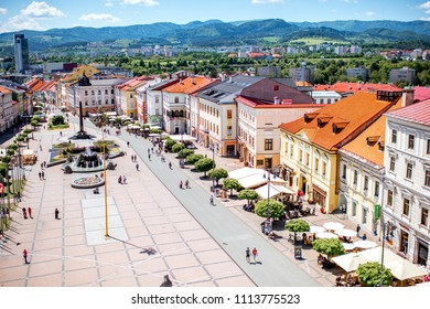SLOVAKIA, BANSKA BYSTRICA - MAY 21, 2018: View on the central square crowded with people in Baska Bystrica old town in Slovakia