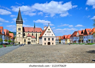 SLOVAKIA, BARDEJOV – MAY 3, 2015: Bardejov town square with old historic houses. The town is one of UNESCO's World Heritage Sites, Europe.