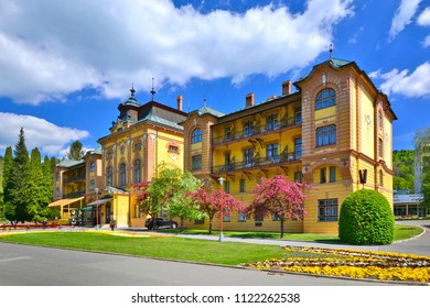 SLOVAKIA, BARDEJOVSKE KUPELE - MAY 03, 2015 : Hotel Astoria, historical dominant of Bardejovske Kupele (Bardejov Spa)