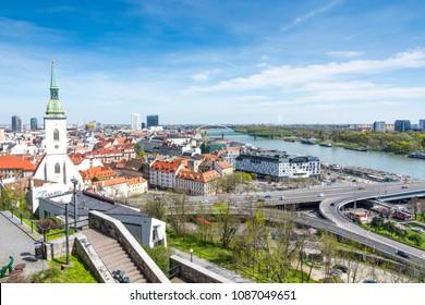 Slovakia, Bratislava - April 14, 2018:  View of Bratislava and the Cathedral of St. Martin from Bratislava Castle, Bratislava, Slovakia