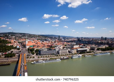 Slovakia, Bratislava, capital city cityscape with Danube River, view from above