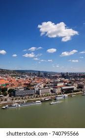 Slovakia, Bratislava, view over capital city at Danube River.