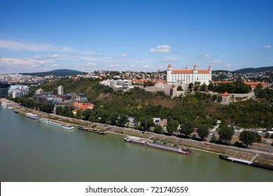Slovakia, capital city cityscape at Danube river, Bratislava Castle on Little Carpathians hill