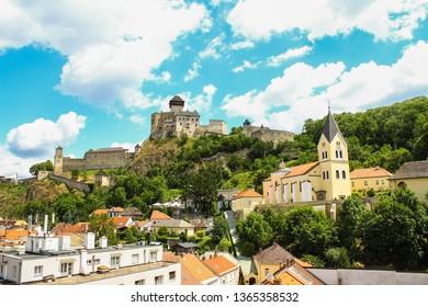 Trenčín, Slovakia - The Trenčín Castle zoomed in photo. Historic castle is situated on the hill over the city centre of Trenčín.
