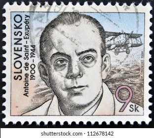 SLOVAKIA - CIRCA 1994: A stamp printed in Slovakia shows hows the author of The Little Prince, Antoine de Saint-Exupery, circa 1994