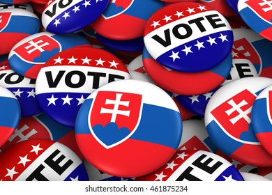 Slovakia Elections Concept - Slovakian Flag and Vote Badges 3D Illustration