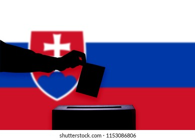 Slovakia flag with ballot box during elections / referendum