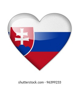 Slovakia flag in heart shape isolated on white background