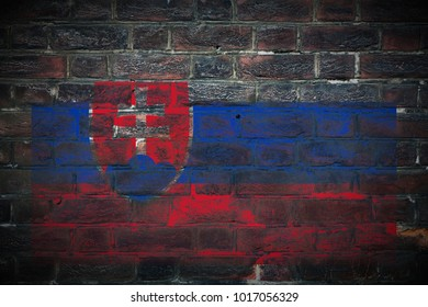Slovakia flag painted on dark_old_grungy_brick_wall texture background