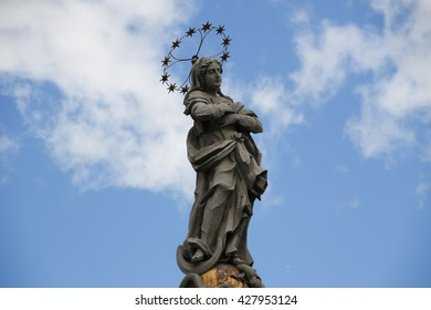 Slovakia Kosice. Main Street. Statue of Immaculata. City landscape