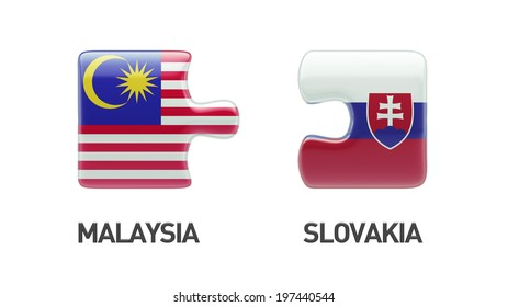 Slovakia Malaysia High Resolution Puzzle Concept