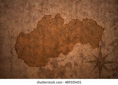 slovakia map on a old vintage crack paper background