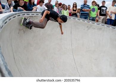 SLOVAKIA, RUZOMBEROK - JUNE 23 2012:  Skater doing tricks in skate park
