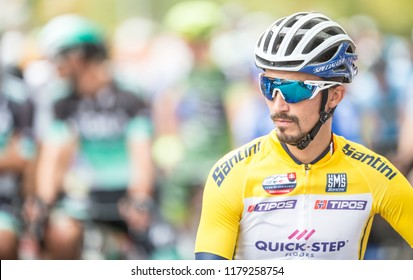 Slovakia Ruzomberok September 14, 2018 - Julian Alaphilippe leads at the start of the second stage of the Tour De Slovakia.