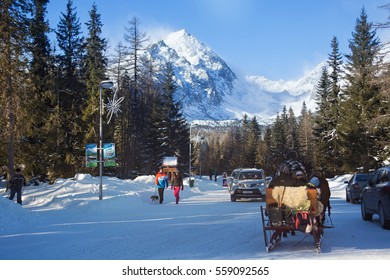 SLOVAKIA, STRBSKE PLESO - JANUARY 06, 2015: View of the Predne Solisko Mountain from ski resort Strbske Pleso. The Predne Solisko (2093 m) is the last peak of the Solisko comb (High Tatra Mountain).
